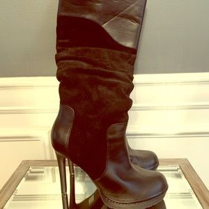 Jessica Simpson black leather & suede boots.